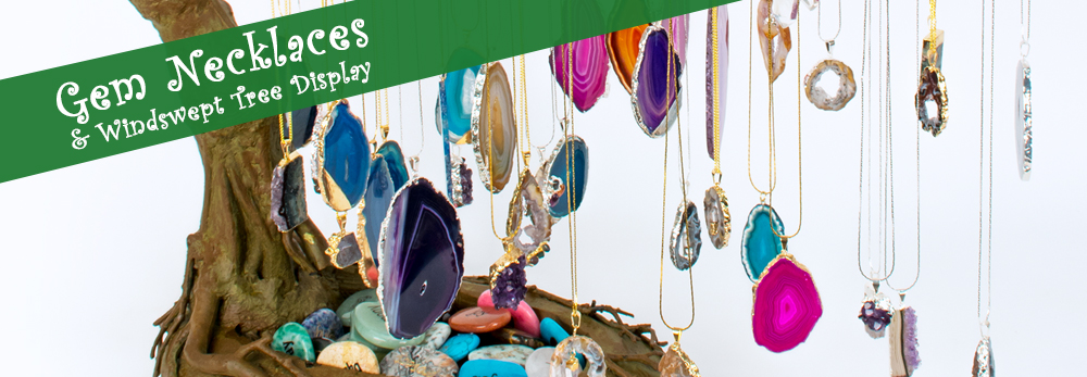 Gemstone Pendents on Windswept Tree Displays - Squire Boone Village