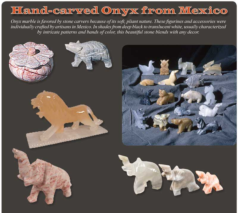 Onyx Hand carved Animals from Mexico Ad