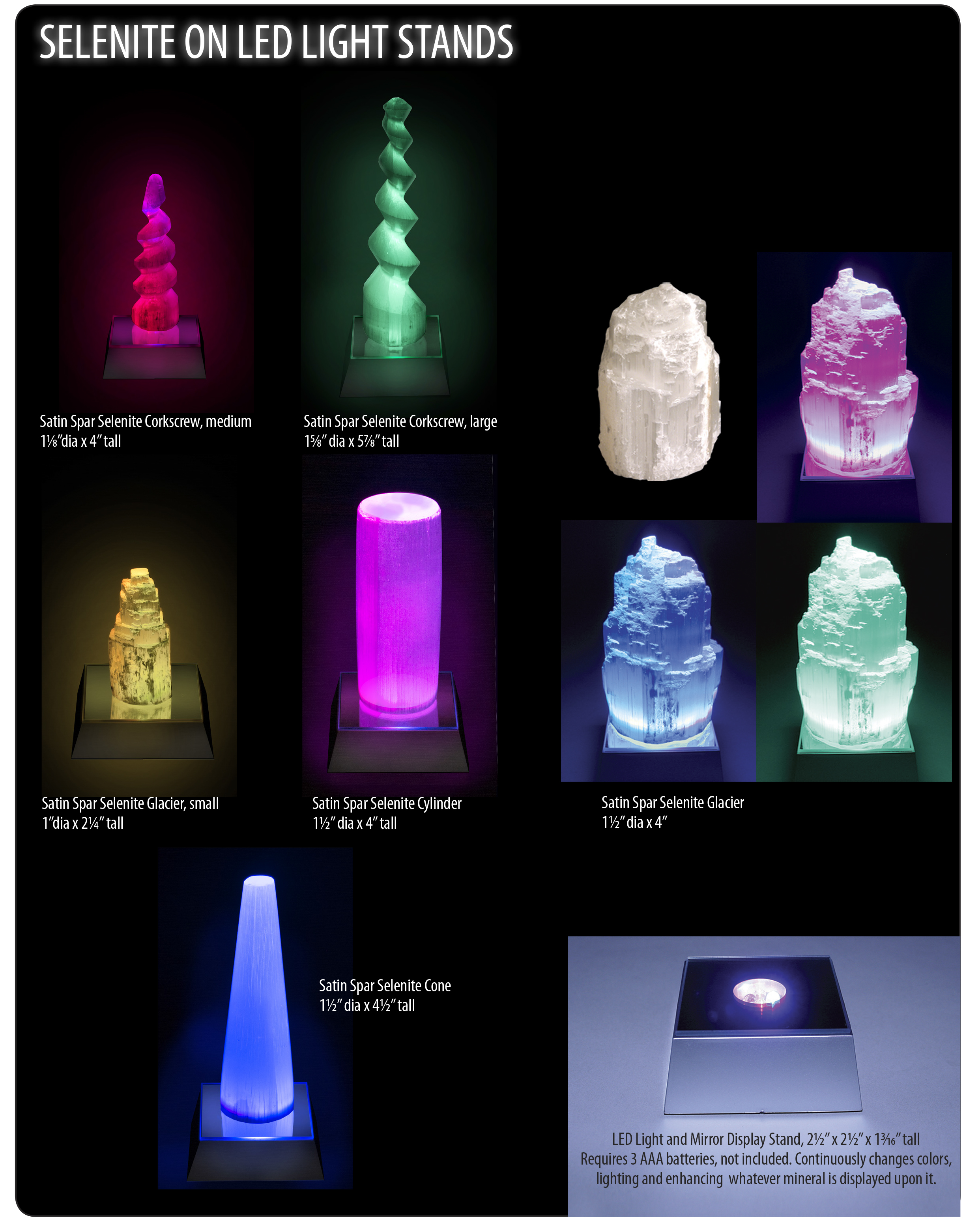 Selenite on LED Light Stands Ad