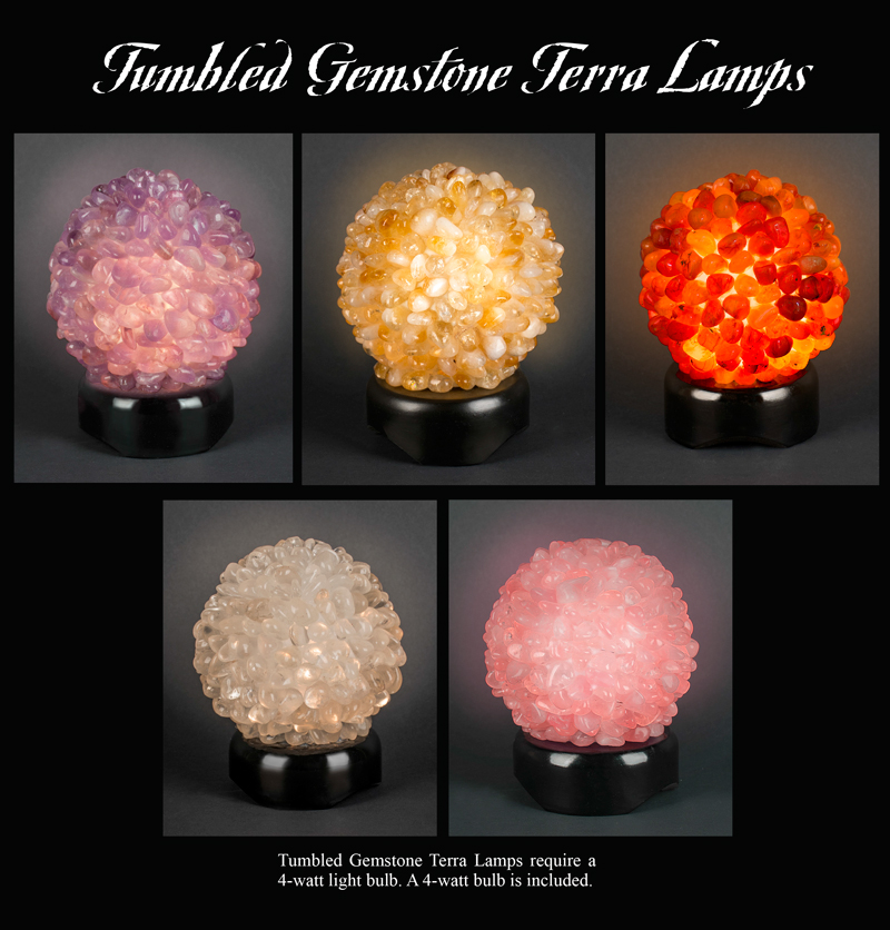 Tumbled Gemstone Terra Lamps Ad