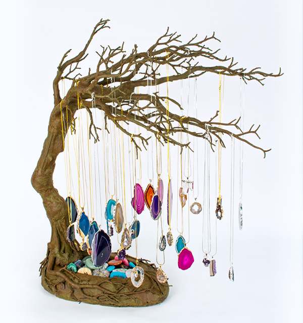 Gemstone Pendants Windswept Tree Display Squire Boone