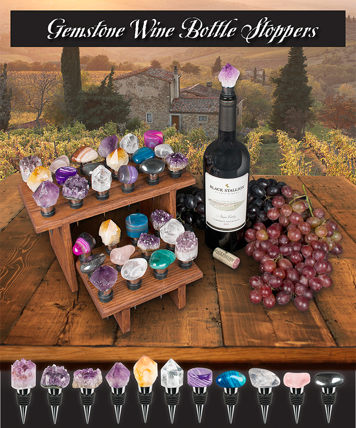 Winery Gemstone Wine Bottle Stoppers Ad